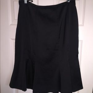 Tadashi Collection Black Satin Fit and Flare Skirt
